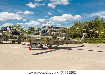 KUBINKA, MOSCOW REGION, RUSSIA - JUNE 18, 2015: Mi-28 Russian military helicopters at Kubinka air force base.