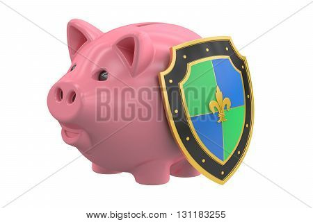 piggy bank with shield financial insurance and business stability concept. 3D rendering