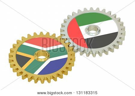 UAE and South Africa flags on a gears 3D rendering isolated on white background