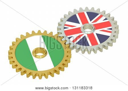United Kingdom and Nigeria relations concept flags on a gears. 3D rendering isolated on white background