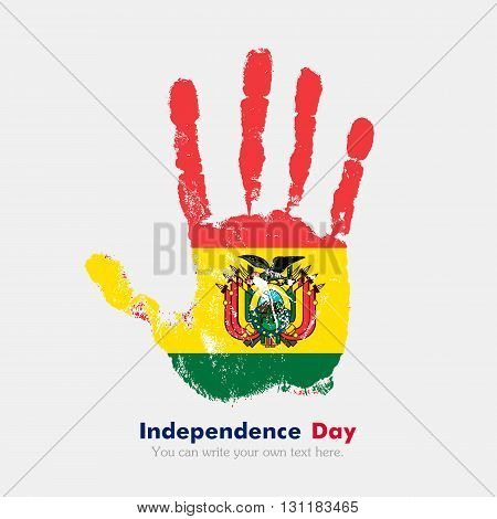Hand print, which bears the Flag of Bolivia. Independence Day. Grunge style. Grungy hand print with the flag. Hand print and five fingers. Used as an icon, card, greeting, printed materials.