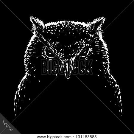 black and white engrave isolated vector evil owl bird