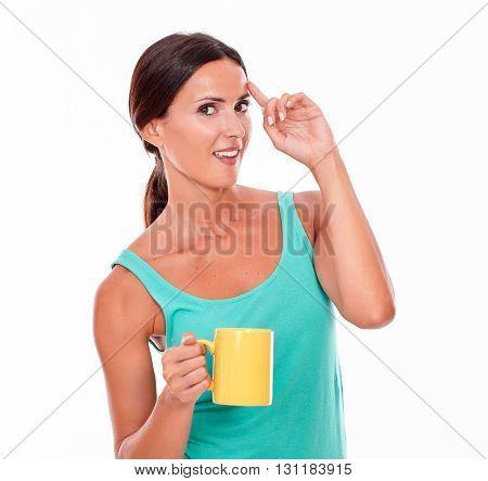 Smiling Brunette Woman Has An Idea