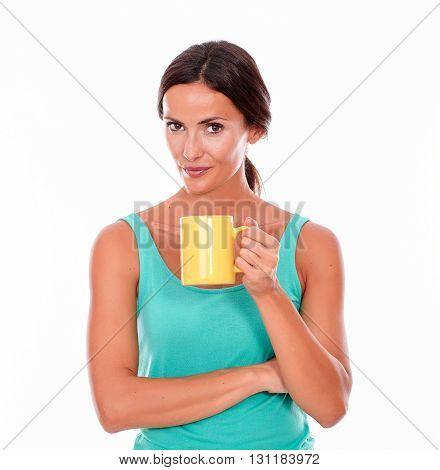Secretive Smiling Brunette With Coffee Mug