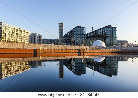Morning View Of Central Station With Reflection From River Spree