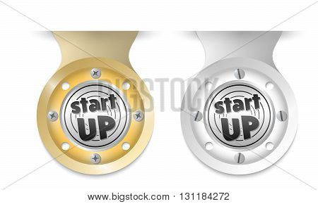 Golden and silver object and start up icon
