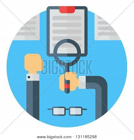 Looking at a document with reading magnifying glass. Eye wear hands desk documents. Colored flat vector illustration