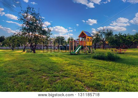 playground of children's near a house