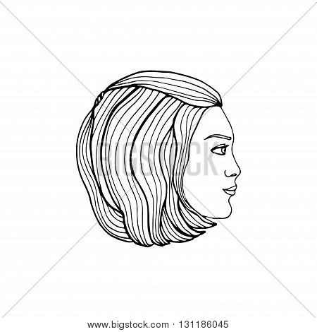 Vector illustration. Young woman profile. Female face as a logo in linear style. Girl face sketch as design element for natural beauty concept.