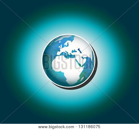 Planet Earth Isolated. Vector globe icon with white map of the continents of the world. Modern flat icon.