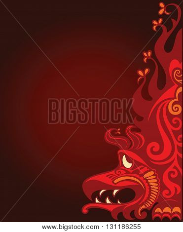 Deep red background with decorative eastern dragon