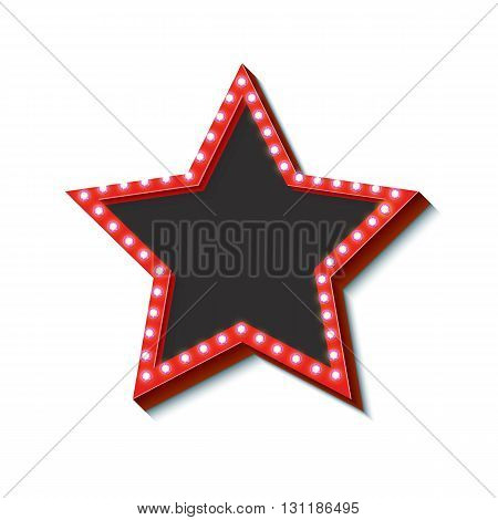 Neon Retro star frame. Hollywood frame with glowing lights. 3d vintage star with a purple neon light. Empty space for your text message business. Ready template object. illustration