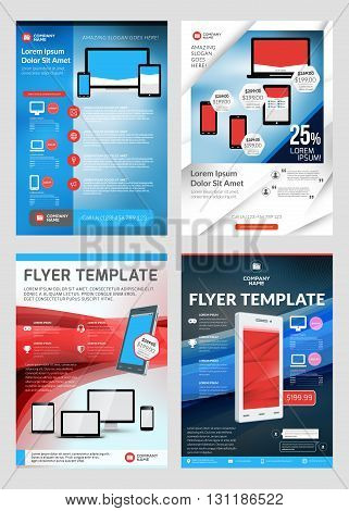 Set Of Business Flyer Design Templates For Mobile Application Or New Smartphone. Vector Brochure Des
