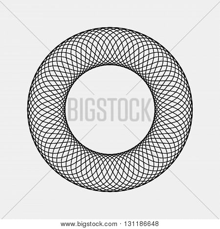 Black abstract fractal, rotation, repeat, reflection shape with light background for logo, design concepts, posters, banners, business presentationsm, web and prints. Vector illustration.