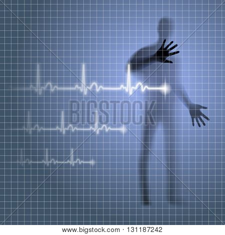 Luminous medical background with human silhouette and cardiogram line
