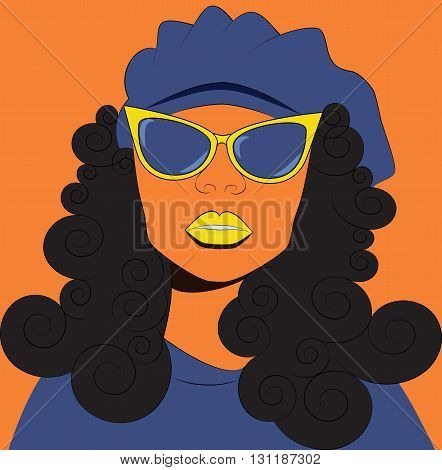 Fashion vector illustration. The girl in sunglasses and beret. Girl with curly hair.