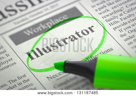 Illustrator - Small Advertising in Newspaper, Circled with a Green Highlighter. Blurred Image with Selective focus. Hiring Concept. 3D Illustration.