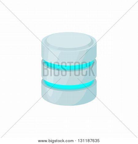 Database icon in cartoon style isolated on white background. Data storage symbol