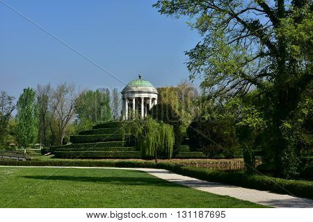 Querini public park in the center of Vicenza with neoclassical round temple built in 1820