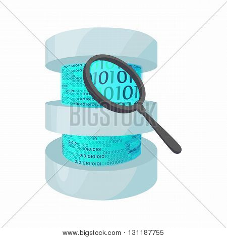 Search data in database icon in cartoon style isolated on white background. Data storage symbol