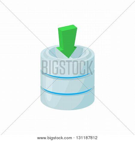 Download database icon in cartoon style isolated on white background. Data storage symbol