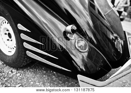 Rear Of Old Classic Car. Black And White Photo