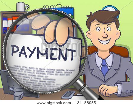 Business Man in Suit Looking at Camera and Holds Out a Paper with Payment Concept through Magnifying Glass. Closeup View. Multicolor Doodle Illustration.
