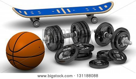 Dumbbells, basketball and skateboard. Adjustable dumbbells with disks basketball and skateboard lie on a white surface. Isolated. 3D Illustration