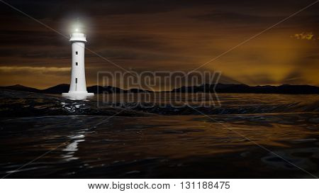 3D rendering of a lighthouse and dark sea waters in dusk, seascape