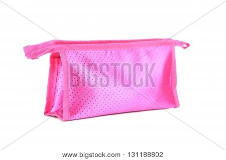 Pink make-up bag isolated on a white