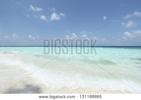 Blue clear sea and sky in Maldives