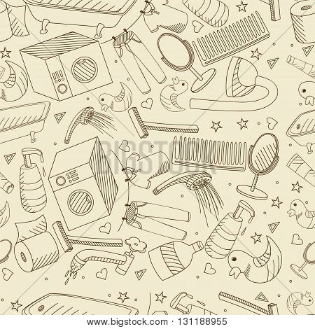 Vector line art Doodle set of cartoon characters and objects bathroom. Seamless retro