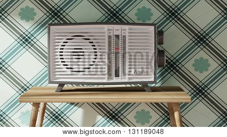 Antique radio transistor on table. 3D rendering