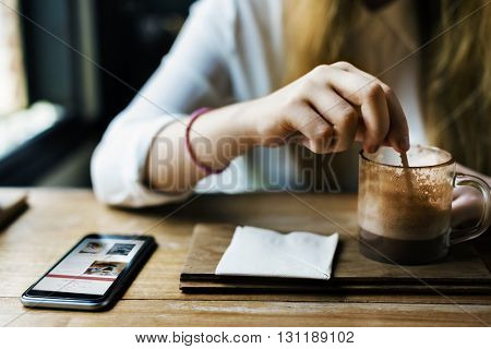 Browsing Cafe Coffee Casual Leisure Relax Concept