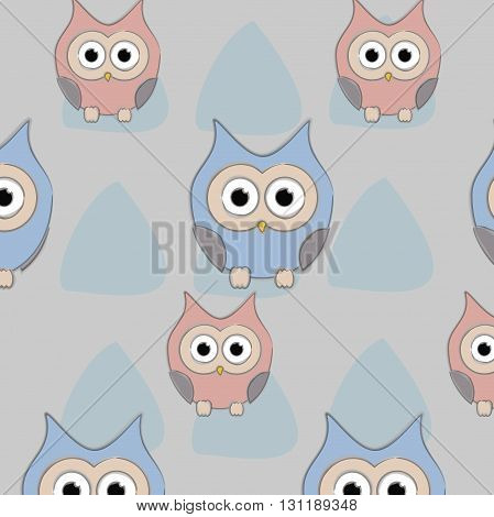 owl pattern background funny cartton vector illustration with triangle back cover print