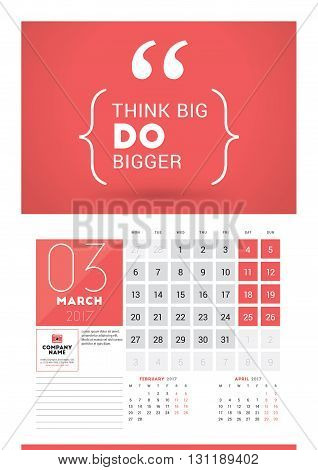 Wall Calendar Planner Print Template For 2017 Year. March 2017. Calendar Poster With Motivational Qu