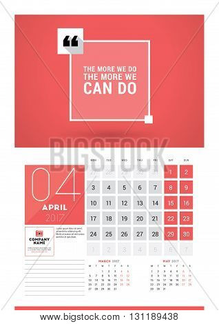 Wall Calendar Planner Print Template For 2017 Year. April 2017. Calendar Poster With Motivational Qu