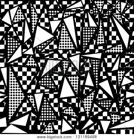 80S Geometric Seamless Pattern In Black And White