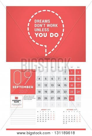 Wall Calendar Planner Print Template For 2017 Year. September 2017. Calendar Poster With Motivationa