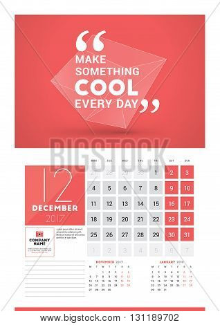Wall Calendar Planner Print Template For 2017 Year. December 2017. Calendar Poster With Motivational