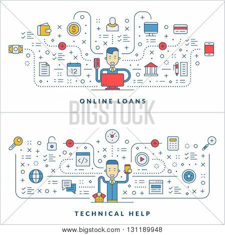 Online loans. Technical help. Flat line icons and businessman cartoon character. Business concept. Vector thin line illustration for website banner template or header