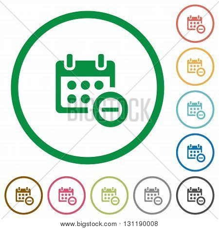 Set of Delete from calendar color round outlined flat icons on white background