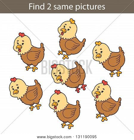 Vector illustration of kids puzzle educational game for preschool children