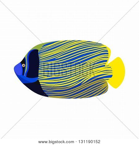 Tropical angelfish icon in cartoon style isolated on white background. Sea and ocean symbol