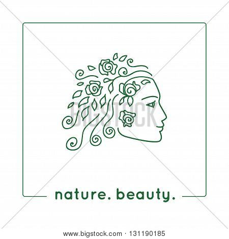 Vector illustration. Young woman profile. Female face as a logo in linear style. Girl face sketch as design element for natural beauty concept. Nature symbol for organic products or natural cosmetics.