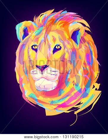The lion head on black background. Retro design graphic element. This is illustration ideal for a mascot and tattoo or T-shirt graphic. Stock illustration