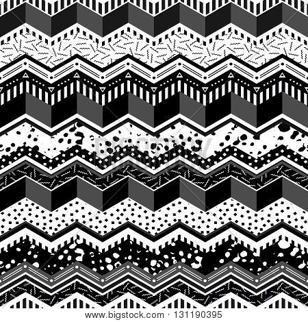 80S Geometry Seamless Pattern In Black And White