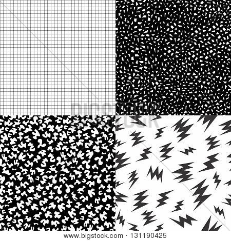 80S Retro Memphis Pattern Set With Geometric Shape