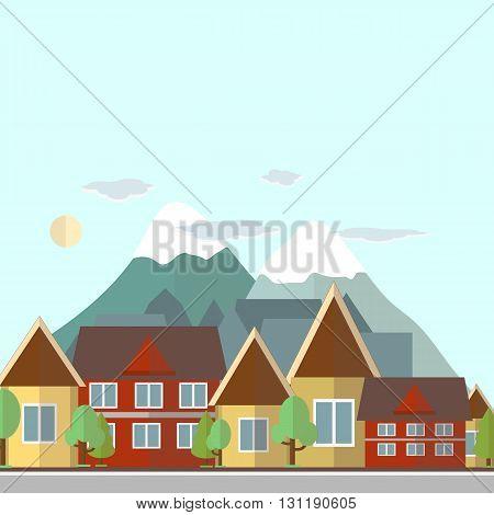 Flat design urban landscape day illustration on a background of mountains