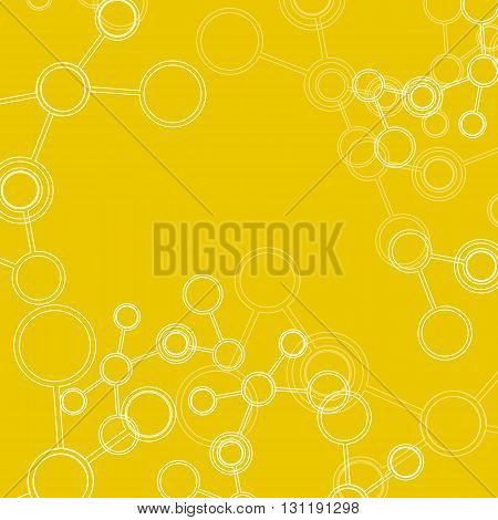 Abstract connection structure. Vector science background. Molecule on yellow background.